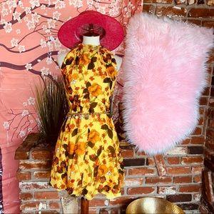 Vtg 60s Floral Floral Mini Dress SM